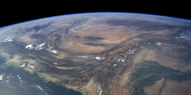 Edited ISS040 image of Pakistan and Iran showing mountains what happens when you smash a sub-continent into a larger continent - you get lots of tall mountains.