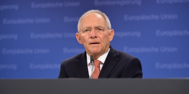 BRUSSELS, BELGIUM - FEBRUARY 17: Germany's Federal Minister of Finance Wolfgang Schaeuble gives a speech during a press conference after European Union (EU) Economy and Finance Ministers Meeting at the European Council's building in Brussels, Belgium on February 17, 2015. (Photo by Dursun Aydemir/Anadolu Agency/Getty Images)