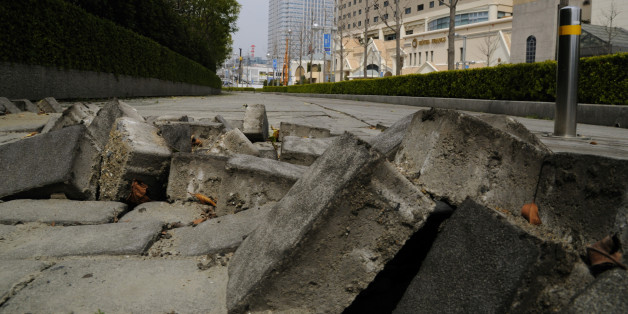 Earthquake damage, Makuhari, Chiba Prefecture, Honshu, Japan