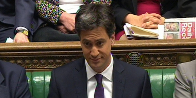 Labour party leader Ed Miliband during Prime Minister's Questions in the House of Commons, London.