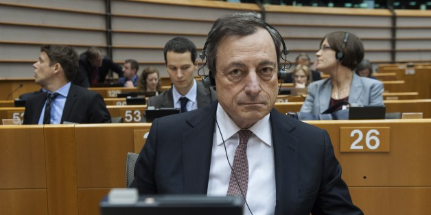 European Central Bank's (ECB) president Mario Draghi attends a debate on ECB's activities at the EU parliament in Brussels on February 25, 2015.  AFP PHOTO / JOHN THYS        (Photo credit should read JOHN THYS/AFP/Getty Images)