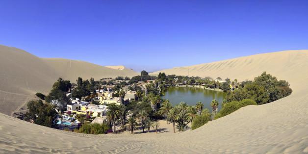 Panorama of Huacachina Oasis near Ica Peru