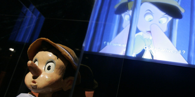 A Pinochio doll at the Grand Palais museum in Paris Wednesday Sept. 13, 2006. Paris' culture world seems fixated this season on paying homage to Americana, and this fascinating exhibit shows how Disney's animators took inspiration from European art, from Bavarian castles to the German Expressionist filmmakers. (AP Photo/Jacques Brinon)