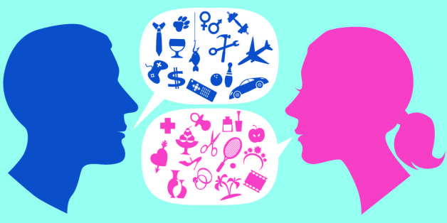 Male and female profile with speech bubbles, filled with symbols of stereotypical men and women interests. Vector illustration