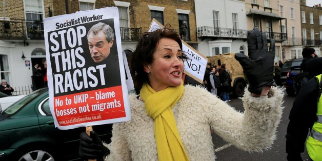 Anti-Ukip protestors gather outside the Ukip Spring Conference at the Winter Gardens Theatre in Margate, Kent.