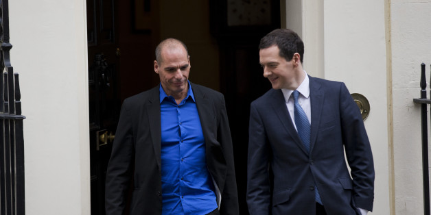 British Finance Minister George Osborne, right, walks out to bid farewell to Greece's new finance minister Yanis Varoufakis after their meeting at 11 Downing Street in London, Monday, Feb. 2, 2015.  France's Socialist government offered support Sunday for Greece's efforts to renegotiate debt for its huge bailout plan, amid renewed fears about Europe's economic stability.  The backing was a victory for Varoufakis, striking a more conciliatory tone as he seeks new conditions on debt from creditors