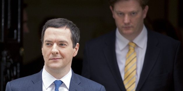 George Osborne, U.K. chancellor of the exchequer, left, and Danny Alexander, U.K. chief secretary to the treasury, leave 11 Downing Street in London, U.K., on Wednesday, March 19, 2014. Osborne will lay out a budget today focused on securing Britain's economic recovery and rebutting opposition Labour Party claims that he's ignoring the rising cost of living. Photographer: Jason Alden/Bloomberg via Getty Images