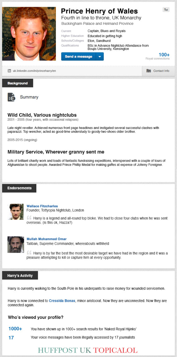 prince harry linkedin spoof