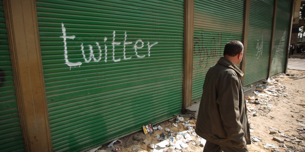 CAIRO, EGYPT - FEBRUARY 04: A shop in Tahrir Square is spray painted with the word Twitter after the government shut off internet access on February 4, 2011 in Cairo, Egypt. Anti-government protesters have called today 'The day of departure'. Thousands have again gathered in Tahrir Square calling for Egyptian President Hosni Mubarak to step down. (Photo by Peter Macdiarmid/Getty Images)