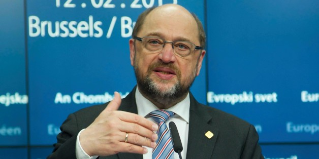 BRUSSELS, BELGIUM - FEBRUARY 12: Martin Schulz, President of the European Parliament holds a press conference after an European Union summit in Brussels, Belgium on February 12, 2015. (Photo by Dursun Aydemir/Anadolu Agency/Getty Images)