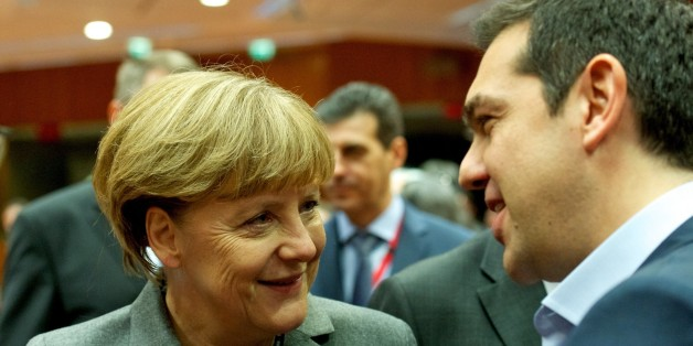BRUSSELS, BELGIUM - FEBRUARY 12:  Greek Prime Minister Alexis Tsipras (R) and German Chancellor Angela Merkel (L) attend a European Union summit at the EU Headquarters in Brussels, Belgium on February 12, 2015. (Photo by Council of Europe-Pool/Anadolu Agency/Getty Images)