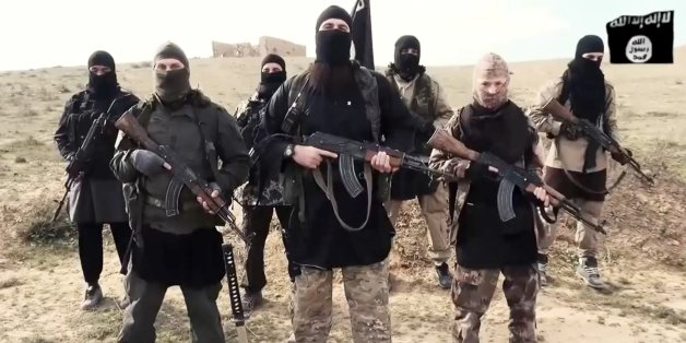 French fighters (or French speaking) of ISIS or Islamic State group or Daesh deliver a message to Francois Hollande and to French people, mourning the killers of Charlie Hebdo team, brothers Kouachi, as well as Amedy Coulibaly in a video message sent on internet on February 4th, 2015, Photo by Balkis Press/ABACAPRESS.COM