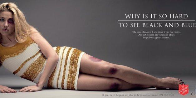 La célèbre robe dans une campagne choc contre les violences conjugales