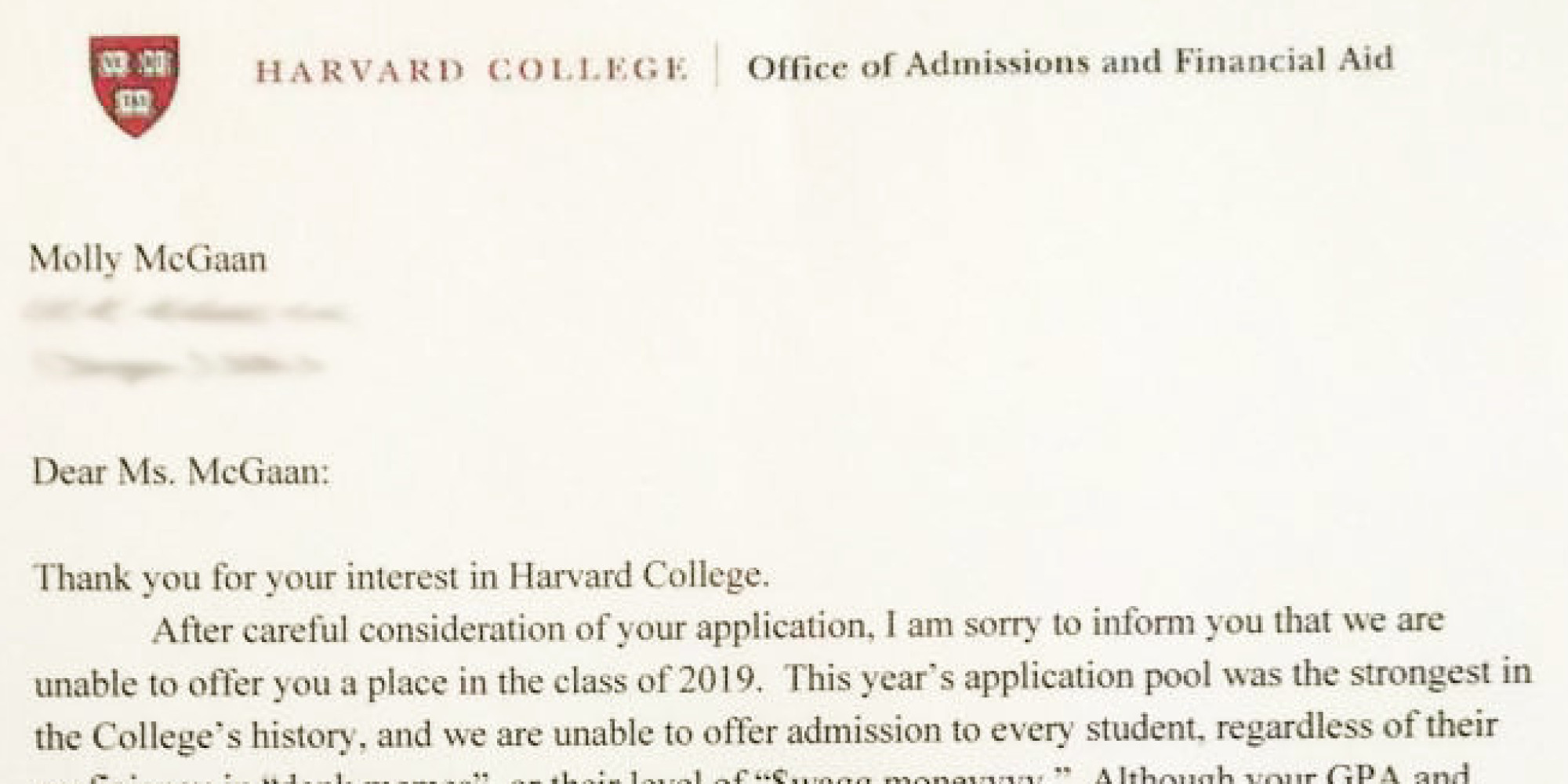 Somebody Give This High Schooler An Award For Her (Fake) Harvard Rejection  Letter | HuffPost