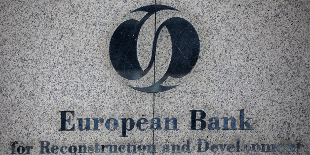 A sign sits outside One Exchange Square, the headquarters of the European Bank for Reconstruction and Development (EBRD), in London, U.K., on Monday, May 21, 2012. Shareholders of the European Bank for Reconstruction and Development approved 1 billion euros of funding for the southern- and eastern Mediterranean region where it's expanding its investments to support emerging democracies. Photographer: Simon Dawson/Bloomberg via Getty Images