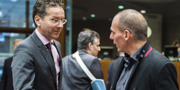 Greece's Finance Minister Yanis Varoufakis, center, greets Dutch Finance Minister Jeroen Dijsselbloem, left, as Croatian Finance Minister Boris Lalovac looks on during a meeting of EU finance ministers at the EU Council building in Brussels Tuesday, Feb. 17, 2015. Greek shares led a European retreat Tuesday as investors reacted negatively to the breakdown in talks between Greece and its creditors in the 19-nation eurozone over the country's attempt to renegotiate its financial bailout. (AP Photo