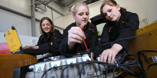 Embargoed to 00:01 Wednesday September 20, 2006(Left to right): Katie Astbury, 18, from Derby, Jane Randle, 18, from Hucknell and Emma Lynam, 16, from Derby; some of the first women trainees on the AA Advanced Apprenticeship Programme at in their workshop in Melton Mowbray, Leicester.