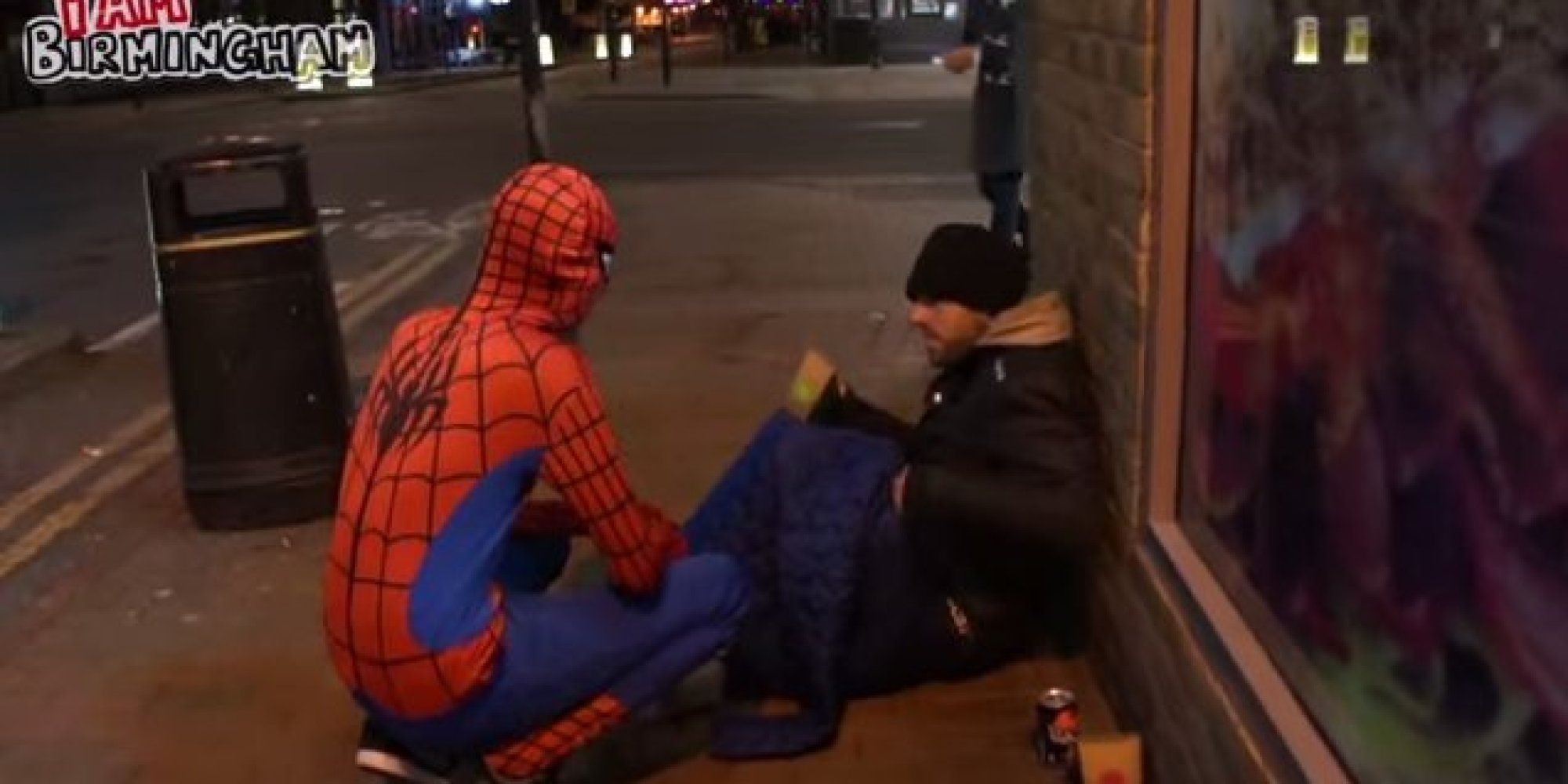 Anonymous Spider Man Feeds Homeless At Night Proves