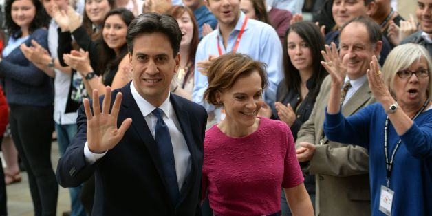 Labour leader Ed Miliband arrives with his wife Justine Thornton before making his keynote speech to delegates during his party's annual conference at Manchester Central Convention Complex.