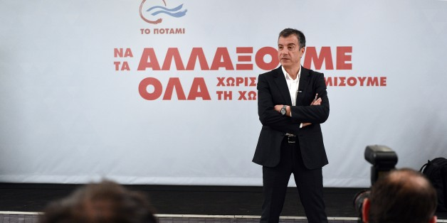 Stavros Theodorakis, a 51-year-old former journalist, speaks during a televised press conference of his party 'To Potami' in Athens on January 21, 2015, prior to national elections set for January 25.  Created in April 2014, To Potami (Greek for 'The River') is a pro-European party presenting itself as 'the third-ranking power that will protect the country' and is most likely to serve as a coalition partner to Syriza or New Democracy. AFP PHOTO/ LOUISA GOULIAMAKI        (Photo credit should read
