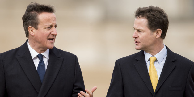 LONDON, ENGLAND - MARCH 03:  David Cameron and Nick Clegg at a ceremonial welcome for the State Visit of The President of The United Mexican, Senor Enrique Pena Nieto and Senora Rivera on March 3, 2015 in London, England. The President of Mexico, accompanied by Senora Angelica Rivera de Pena, are on a State Visit to the United Kingdom as the guests of Her Majesty The Queen from Tuesday 3rd March to Thursday 5th March.  (Photo by Mark Cuthbert/UK Press via Getty Images)