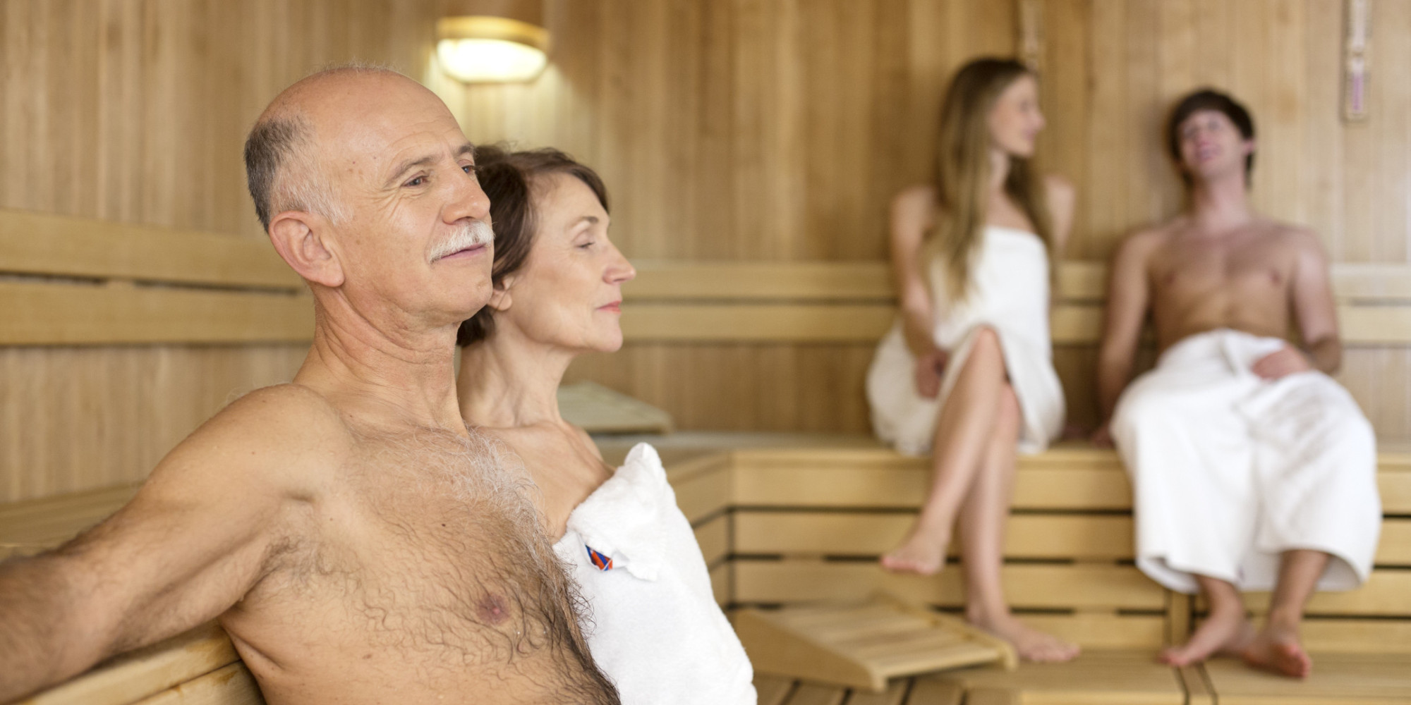 Family nudist sauna