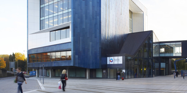 The Gateway'' Buckinghamshire New UniversityHigh Wycombe, Buckinghamshire, United Kingdom, Architect: Rmjm, 2009, The Gateway, Buckinghamshire New University, Rmjm, High Wycombe, Buckinghamshire, Uk, 2009, Exterior View Of The Building By Day As People Walk By, (Photo by View Pictures/UIG via Getty Images)