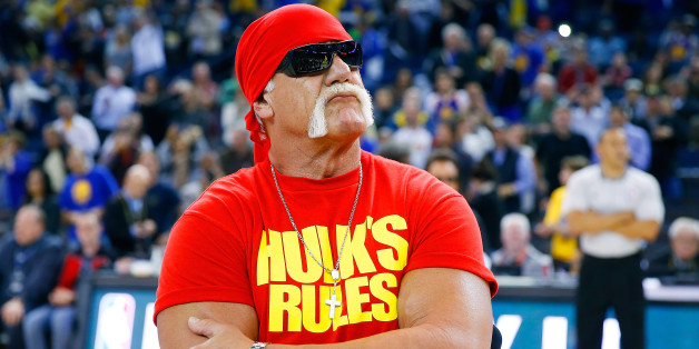 OAKLAND, CA - NOVEMBER 13:  Hulk Hogan pumps of the Warriors fans before the start of an NBA basketball game between the Brooklyn Nets and the Golden State Warriors at ORACLE Arena on November 13, 2014 in Oakland, California. NOTE TO USER: User expressly acknowledges and agrees that, by downloading and or using this photograph, User is consenting to the terms and conditions of the Getty Images License Agreement.  (Photo by Thearon W. Henderson/Getty Images)