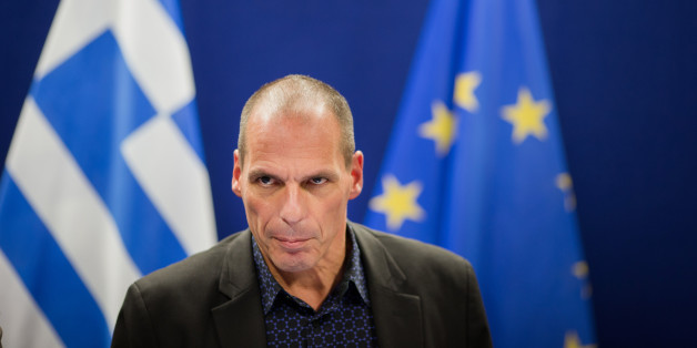 Yanis Varoufakis, Greece's finance minister, speaks during a news conference following a meeting of European finance ministers in Brussels, Belgium, on Monday, March 9, 2015. Greece will resume talks with its creditors this week after euro-area finance ministers demanded urgent action to avert an impending cash crunch. Photographer: Jasper Juinen/Bloomberg via Getty Images
