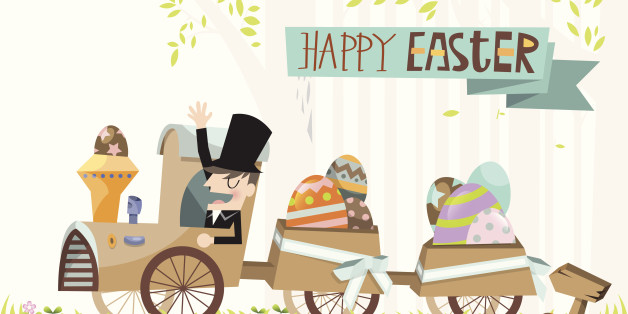 A costumed man celebrates Easter day delivering eggs in many different colors and patterns.