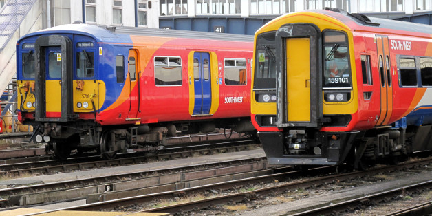 South West trains at Clapham junction railway station.