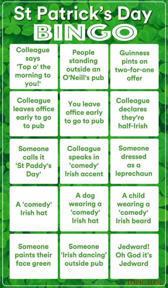 st patricks day bingo card