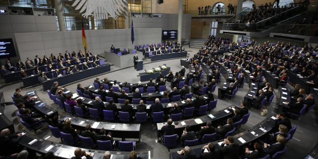 German President Joachim Gauck speaks during a ceremony commemorating the 70th anniversary of the liberation of the Nazi Auschwitz death camp in the German parliament Bundestag in Berlin, Germany, Tuesday, Jan.  27, 2015. (AP Photo/Michael Sohn)