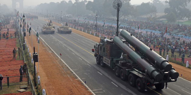 FILE- In this Jan. 23, 2011 file photo, Indian army Brahmos missile launcher passes on a flotilla towards the India Gate memorial during rehearsal for the Republic Day parade in New Delhi, India. In its race to join the club of international powers, India has reached another major milestone, it's now the world's largest weapons importer. A Swedish think tank that monitors global arms sales said Monday that India's weapons imports had overtaken China's, as the South Asian nation pushes ahead with plans to modernize its military, counter Beijing's influence and gain international prestige and clout. (AP Photo/Gurinder Osan, File)