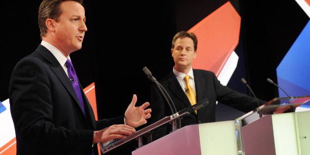 File photo dated 22/04/10 of Conservative leader David Cameron (left) speaking as Lib Dem leader Nick Clegg (centre) and Labour leader Gordon Brown look on during a live leaders' election debate, as the chances of televised political debates taking place during the general election campaign appear no more certain after proposals for a revised format sparked fresh complaints from excluded parties.