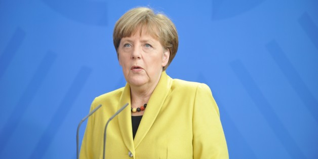 BERLIN, GERMANY - MARCH 16: German Chancellor Angela Merkel holds a press conference after his meeting with Ukrainian President Petro Poroshenko (not seen) on March 16, 2015 in Berlin, Germany. (Photo by Erbil Basay/Anadolu Agency/Getty Images)