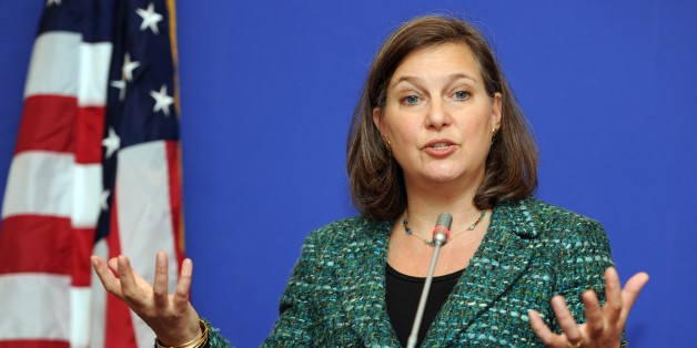 US Assistant Secretary of State for European and Eurasian Affairs Victoria Nuland gestures as she speaks during her press conference in Tbilisi on February 17, 2015. AFP PHOTO / VANO SHLAMOV        (Photo credit should read VANO SHLAMOV/AFP/Getty Images)