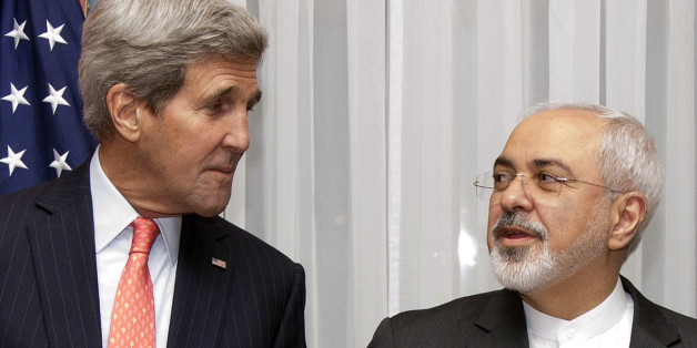 U.S. Secretary of State John Kerry, left, listens to Iran's Foreign Minister Mohammad Javad Zarif, right, before resuming talks over Iran's nuclear program in Lausanne, Switzerland, Monday, March 16, 2015. The United States and Iran are plunging back into negotiations in a bid to end a decades-long standoff that has raised the specter of an Iranian nuclear arsenal, a new atomic arms race in the Middle East and even a U.S. or Israeli military intervention. (AP Photo/Brian Snyder, Pool)