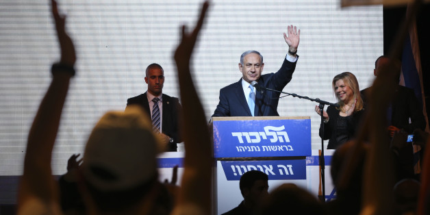 FILE - In this March 17, 2015 file photo, Israeli Prime Minister Benjamin Netanyahu greets supporters at the party's election headquarters in Tel Aviv, Israel. Netanyahu's Likud won 30 seats in the 120-seat parliament, and parties apparently willing to back him won another 37 for a possible majority. The reasons for that outcome go beyond the party's nationalist ideology and include Israel's sense of geographic vulnerability, its fragmented politics and a master campaigner in Netanyahu himself.
