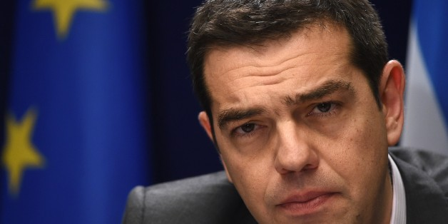 Greek Prime Minister Alexis Tsipras gives on March 20, 2015 a press conference at the end of European Union summit at the EU Council building in Brussels.          AFP PHOTO / EMMANUEL DUNAND        (Photo credit should read EMMANUEL DUNAND/AFP/Getty Images)