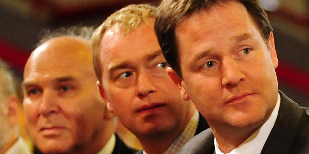 Liberal Democrat Leader and Deputy Prime Minister Nick Clegg (right), President of Liberal Democrats Tim Farron (centre) and Secretary of state for Business Vince Cable (left) at the Liberal Democrat Annual Conference, at the ICC in Birmingham.