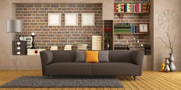 Brown sofa in a vintage living room - rendering