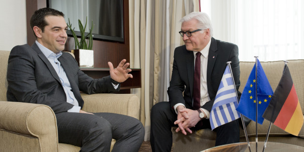 German Foreign Minister Frank-Walter Steinmeier, right, meets with Greek Prime Minister Alexis Tsipras in a hotel in Berlin, Germany, Tuesday, March 24, 2015. (AP Photo/Michael Gottschalk, Pool)