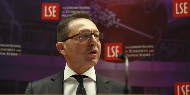 Yannis Stournaras, governor of the Bank of Greece, speaks during his address at the London School of Economics (LSE) in London, U.K., on Wednesday, March 25, 2015. The European Central Bank approved an increase of more than 1 billion euros ($1.1 billion) in the emergency funds available to Greek lenders, two people familiar with the decision said. Photographer: Chris Ratcliffe/Bloomberg via Getty Images