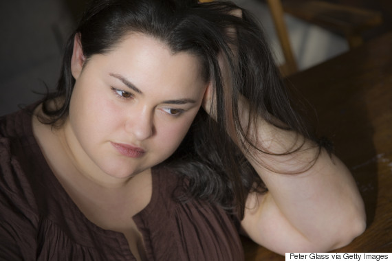 obese woman sad