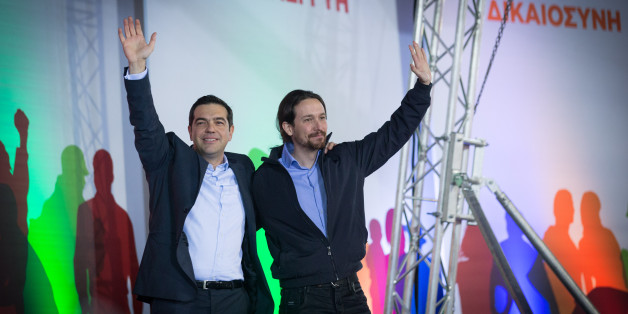 ATHENS, GREECE - JANUARY 22:  Alexis Tsipras, leader of the radical leftist Syriza party is joined by Spanish Podemos party Secretary General Pablo Iglesias (R) as he campaigns at a pre-election rally ahead of this weekend's general election on January 22, 2015 in Athens, Greece. According to the latest opinion polls, the left-wing Syriza party are poised to defeat Prime Minister Antonis Samaras' conservative New Democracy party in the election, which will take place on Sunday. European leaders