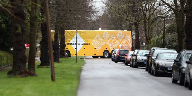 ABINGDON, ENGLAND - MARCH 29:  The Liberal Democrat's battle bus negotiates a tight turn as it arrives with leader Nick Clegg who was to launch the party's General Election 2015 campaign on March 29, 2015 in Abingdon, England. The Liberal Democratic party started it's election campaign in the Oxford West and Abingdon consituancy today where Mr Clegg unveiled the Liberal Democrat election battle bus and met with candidate for Oxford West and Abingdon Layla Moran.  (Photo by Dan Kitwood/Getty Imag