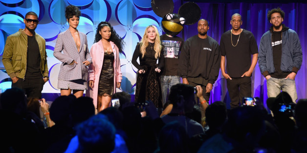 NEW YORK, NY - MARCH 30:  (L-R) Usher, Rihanna, Nicki Minaj, Madonna, Deadmau5, Kanye West, JAY Z, and J. Cole onstage at the Tidal launch event #TIDALforALL at Skylight at Moynihan Station on March 30, 2015 in New York City.  (Photo by Jamie McCarthy/Getty Images for Roc Nation)