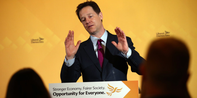 LONDON, ENGLAND - MARCH 31:  Nick Clegg, the leader of the Liberal Democrat party, raises his hands while speaking as he launches his party's NHS manifesto at a press conference on March 31, 2015 in London, England. The leader launched the Liberal democrat party's NHS manifesto on the second day of campaigning in what is predicted to be Britain's closest national election in decades.  (Photo by Carl Court/Getty Images)