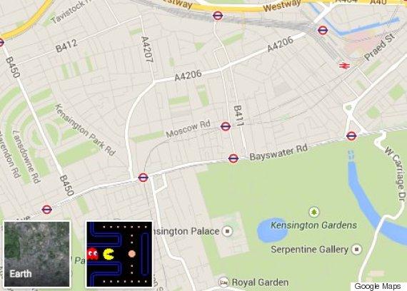 google maps pacman